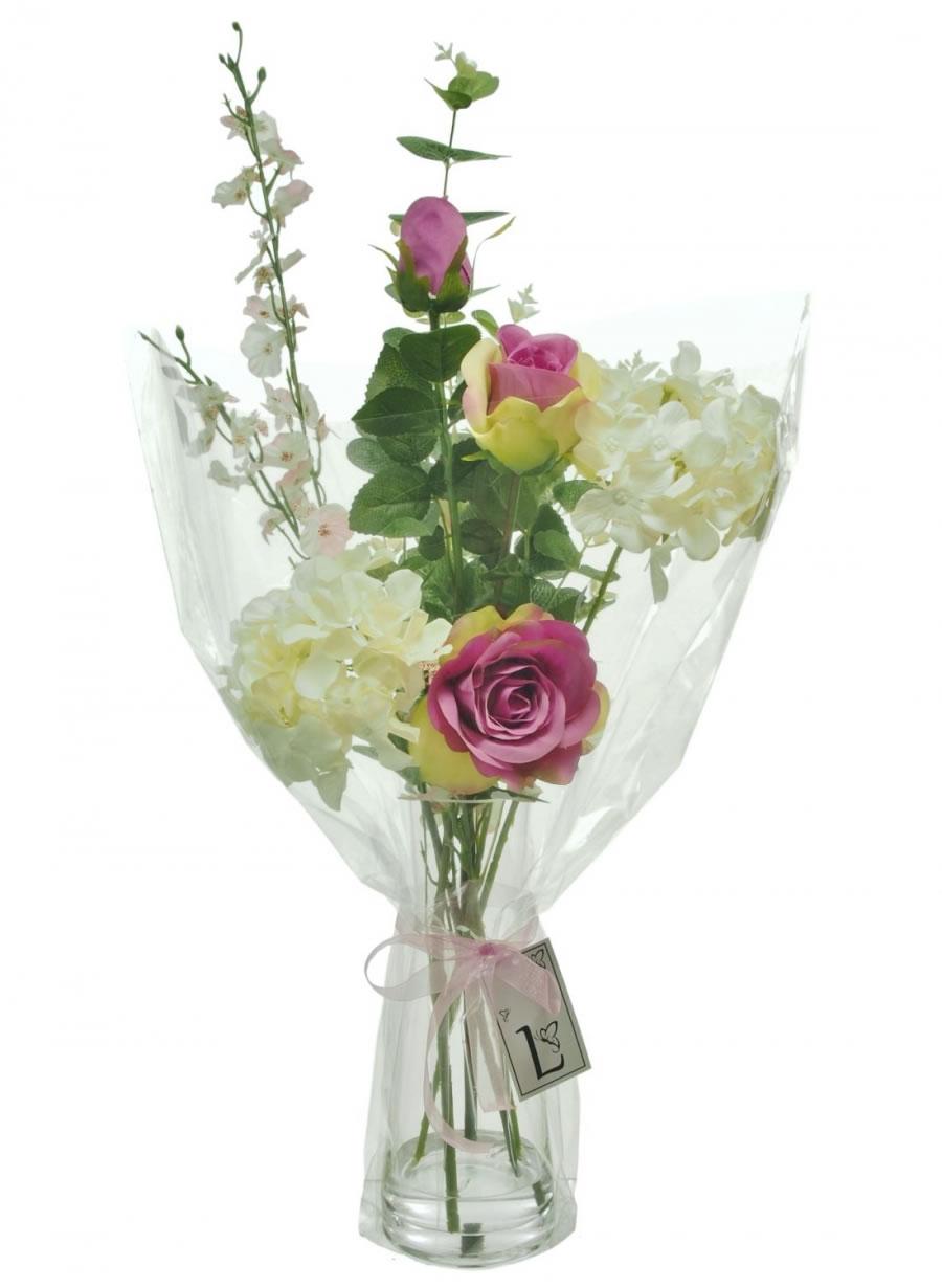 Hydrangea and rose arrangement lotus imports ltd