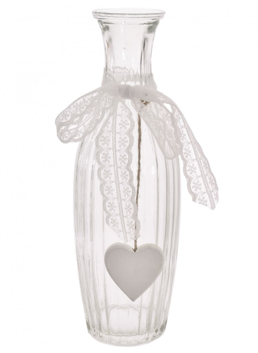 Ribbed Andrea Vase with Heart
